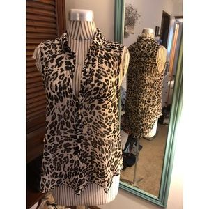 Sheer leopard print sleeveless shirt - Never Worn!